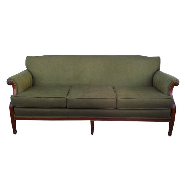 Hollywood Regency Vintage Wood Trimmed Sofa - Image 1 of 7