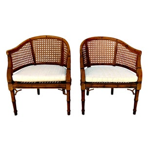 Vintage Cane & Bamboo Barrel Chairs - A Pair