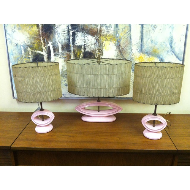 Image of Mid-Century Pink Ceramic Lamps - Set of 3