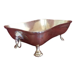 Lion's Head Brass Footed Planter Bowl