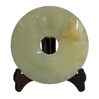Chinese Natural Stone Feng Shui Round Good Luck Display Decor