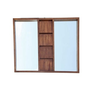 Mid Century Modern Brutalist Double Wood Mirror