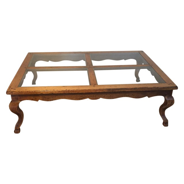 Queen Anne Glass Top Coffee Table - Image 1 of 6