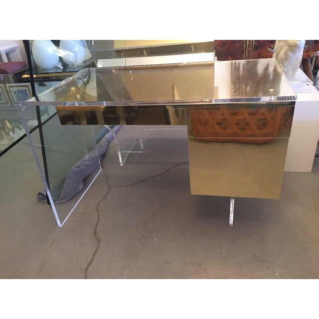 Vintage 1970s Lucite & Brass Desk - Image 7 of 10