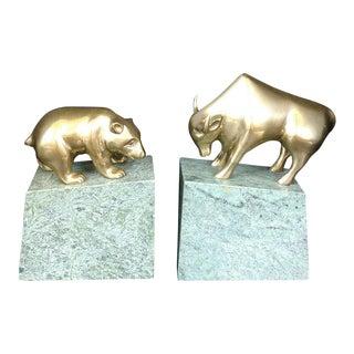 Bear & Bull Bookends - A Pair