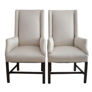 Upholstered Wingback Chairs - Pair