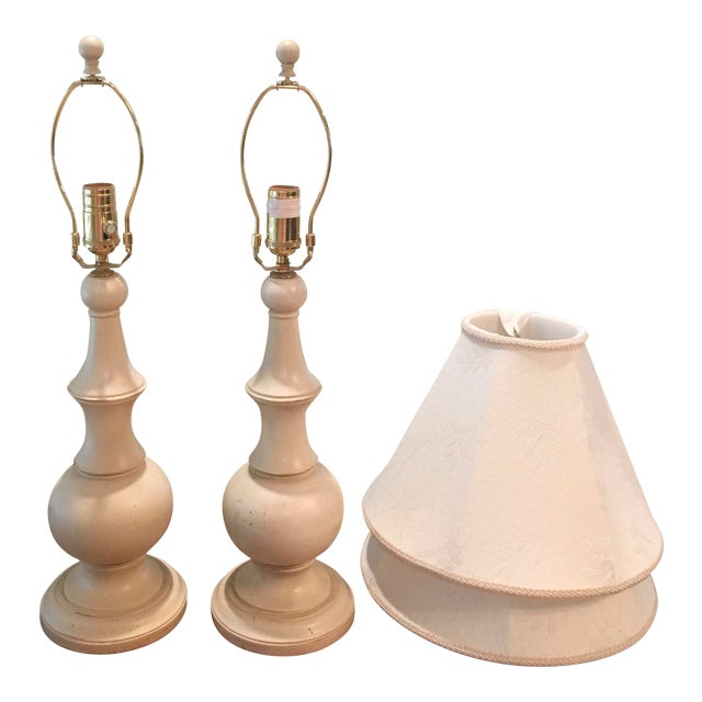 Image of Ethan Allen Shabby Chic Table Lamps - A Pair