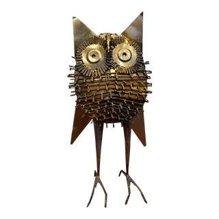 Large Brutalist Metal Owl Sculpture