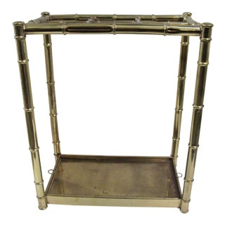 Antique Brass Faux Bamboo Umbrella Stand