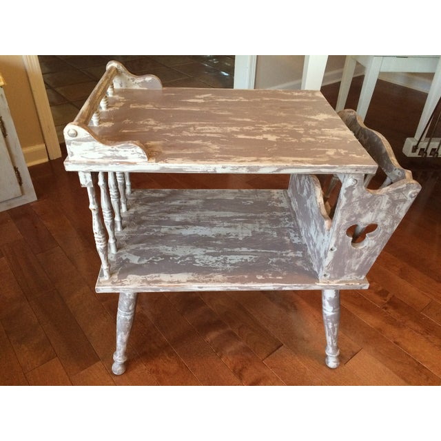 Distressed Gray Magazine Side Table - Image 2 of 5