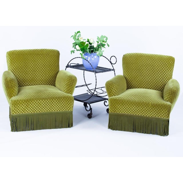 1940s French Green Upholstered Armchairs - A Pair - Image 2 of 10