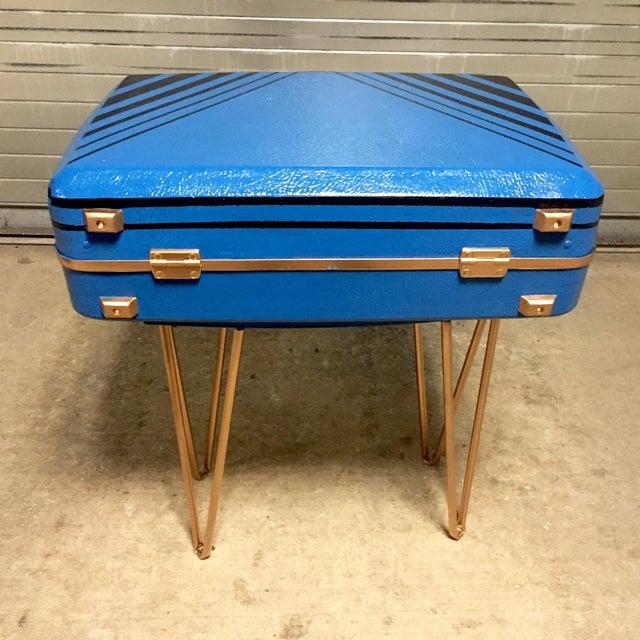 Vintage Retro Blue Suitcase Table - Image 5 of 7
