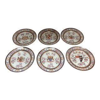 French Chinese Export Style Armorial Plates - Set of 6