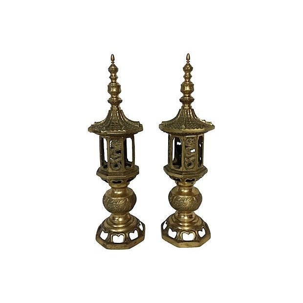 Vintage Pagoda Brass Table Lamps - A Pair - Image 1 of 5
