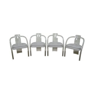Mid Century Set of 4 Lucite Dining Arm Chairs by Hill