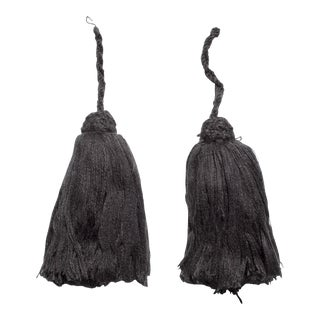 Dark Grey Moroccan Tassels - A Pair