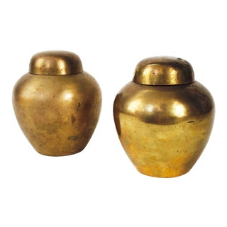 Vintage Brass Ginger Jars - A Pair