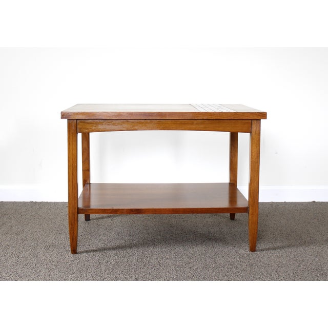 Lane Mid-Century Tile & Wood End Table - Image 4 of 10