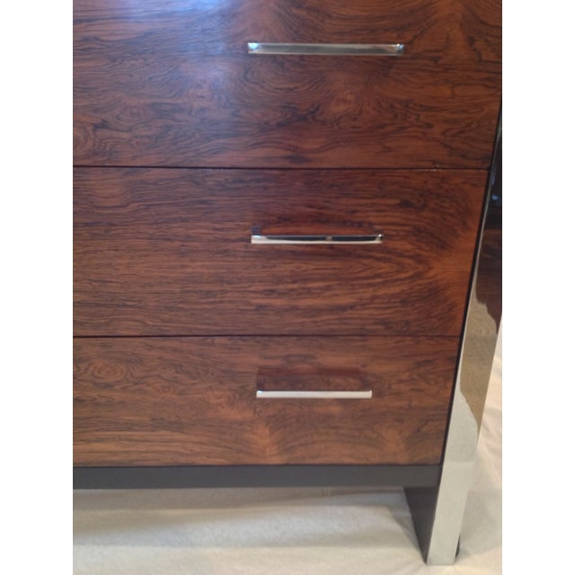 Milo Baughman-Style Rosewood & Chrome Dresser - Image 8 of 10