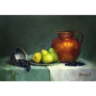 Still Life Painting with Pitcher, Pears and Grapes