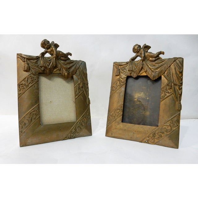 Antique Bronze Cherub Picture Frames - a Pair - Image 2 of 7
