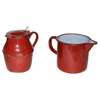 French Enamelware Creamer and Pichter