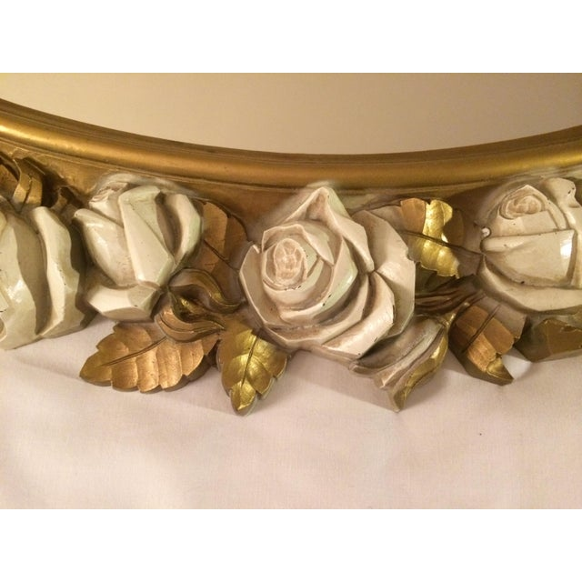 Vintgage Oval Homco Roses Ornate Mirror - Image 5 of 7