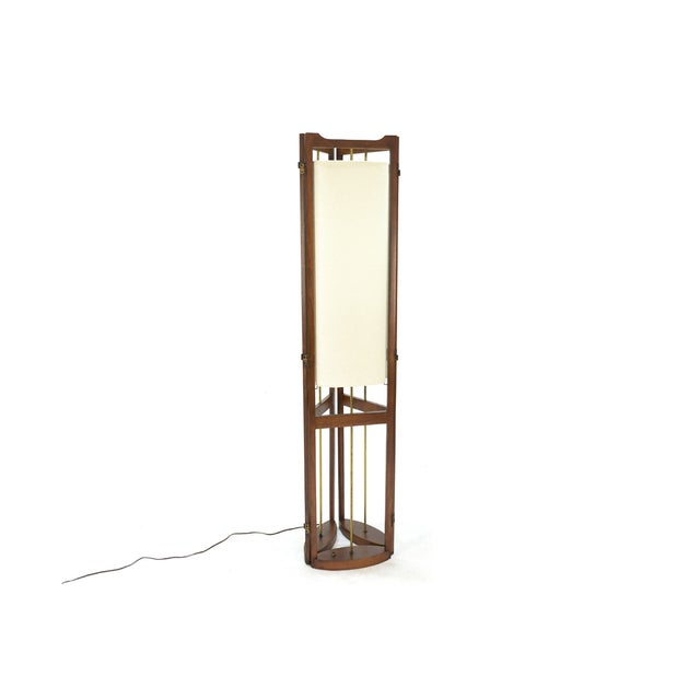Three Panel Walnut Folding Lamp Room Divider - Image 5 of 7