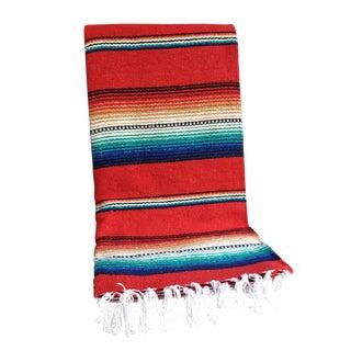 Red Striped Serape-Style Throw