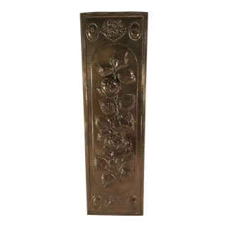 Mid-Century Modern Brass Embossed Panel with Floral Design