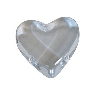 Vintage French Baccarat Crystal Heart Paperweight