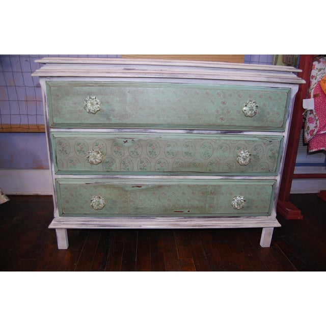 Image of Vintage Shabby Chic Painted Green & White Dresser