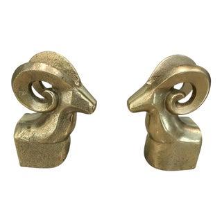 Golden Rams Head Bookends - a Pair
