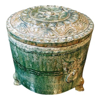 A Han Dynasty Green Glazed Covered Storage Jar