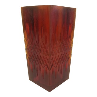 1970s Sascha Brastoff Orange Resin Candle Holder