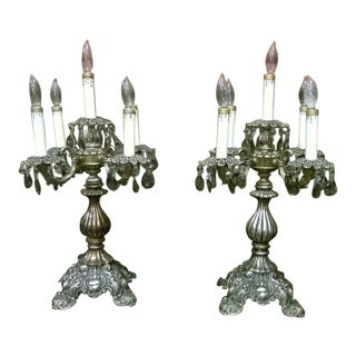 Vintage Gray Crystal Candelabras - A Pair