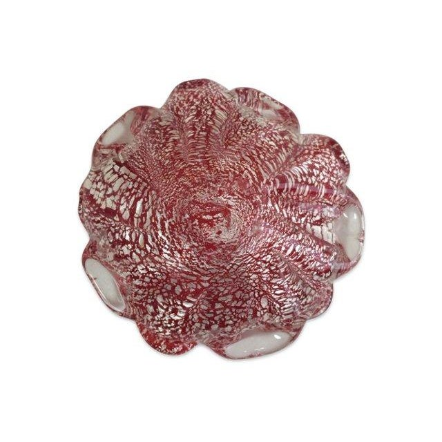 Image of Red & Silver Fleck Fluted Murano Bowl