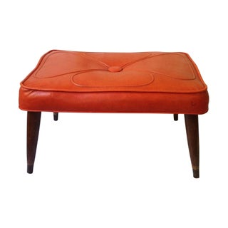 Orange Tufted Vintage Ottoman