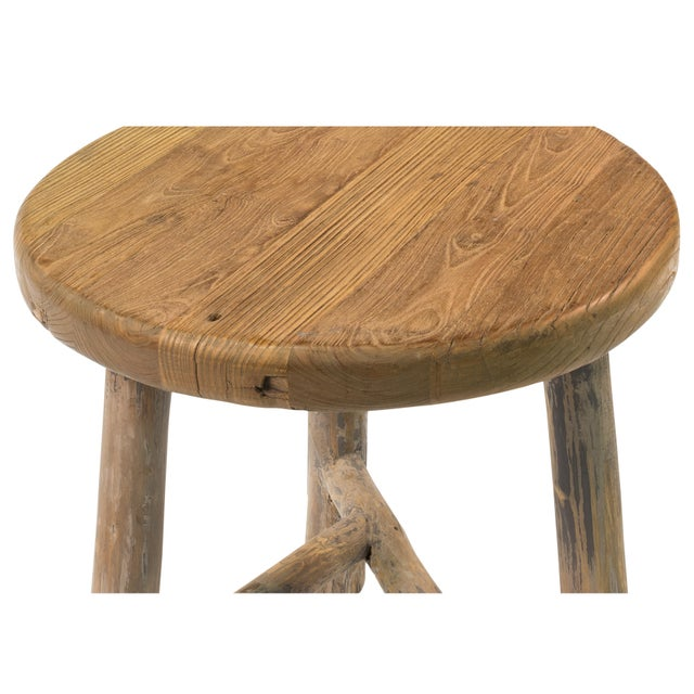 Antique Sarreid LTD Elm Round Side Table - Image 4 of 5