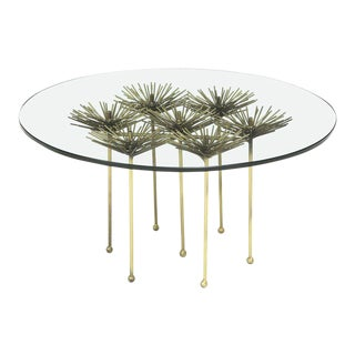 Small Brutalist Gilt Floral Table With Glass Top, 2017