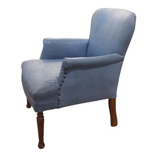 Mid-Century Blue Chair with Nail Heads