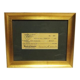 Signed and Framed Cecil B deMille Check