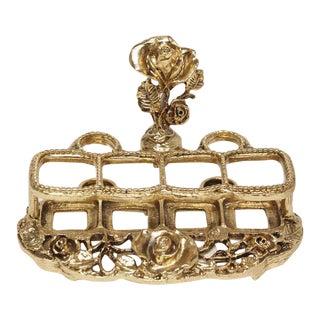 Vintage Brass Ornate Lipstick Caddy