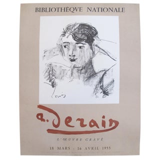 Original 1955 French Derain Exhibition Poster, Head and Shoulders of a Woman