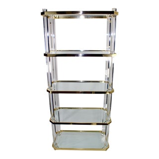 Vintage Lucite, Brass & Glass Etagere