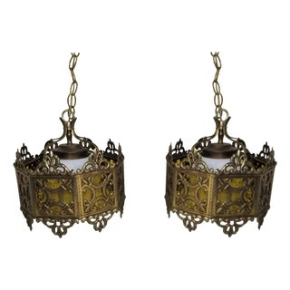 Mid Century Mission Style Brass & Amber Glass Hanging Lights - Pair