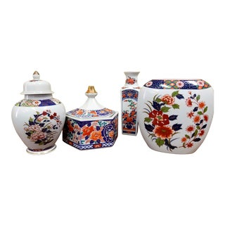 Vintage Imari Ginger Jars & Vases - Set of 4