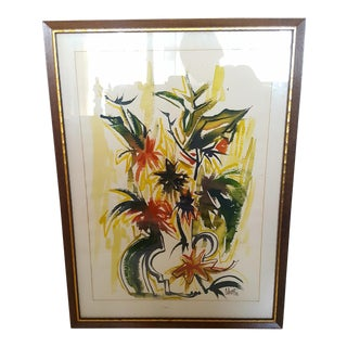1962 Mid Century Modern Abstract Floral Watercolor Painting Signed