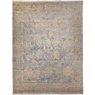 Transitional Hand-Knotted Luxury Rug - 9′ × 12′