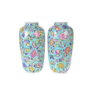 Chinese Multicolor Famille Rose Vases - A Pair